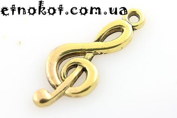 02902daac0068e Золотой скрипичный ключ подвеска, 25x10мм ➤ купить в интернет ...